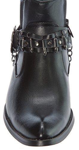 Alberto Fellini Mens Western-boots Cerniera Laterale Fibbia Per Cintura E Stivali Da Cowboy Elastici Laterali In Catena Di Metallo Neri