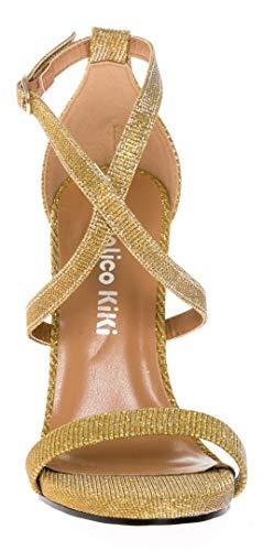 Sandalo Tallone Calico Stiletto Strappy Vestito Gliter Pompa Kiki Donne Oro Tacco Trasversale qAAa6Xwz
