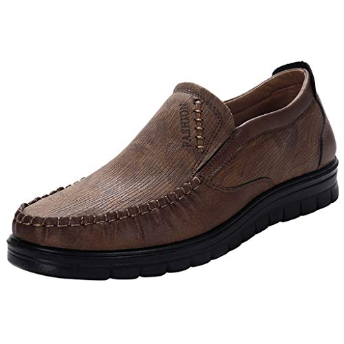 - Men Loafer Shoes Large Size Leisure Slip-On Round Toe Fashionable Walking Shoes Business Casual Shoes (Brown, 47=US 11)