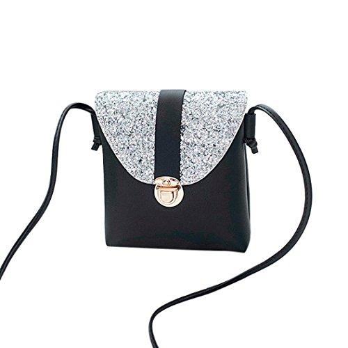 WILLTOO Women Messenger Shoulder Bags, PU Lock Sequins Crossbody Handbags (Black) for $<!--$3.56-->