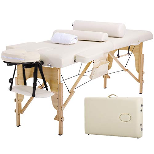 Massage Table Massage Bed Spa Bed 73″ Long Height Adjustable W/Sheet Cradle Bolster Portable 2 Folding Massage Salon Table Hanger Facial Tattoo Salon Bed