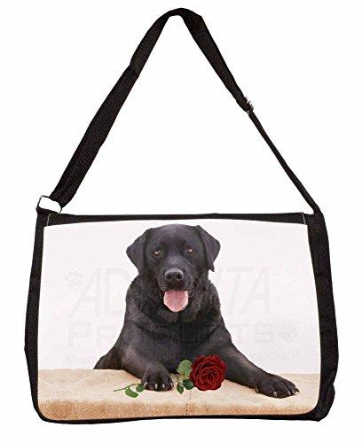 Black Labrador with Red Rose Large 16 Black School Laptop Shoulder Bag