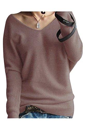 LONGMING Women's Fashion Big V-Neck Pullover Loose Sexy Batwing Sleeve Wool Cashmere Sweater Winter Tops(Dark Tan, XXXL) ()