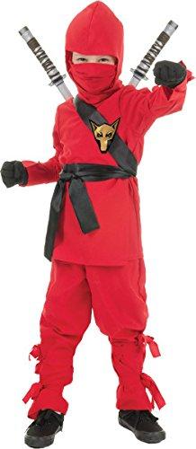 Red Ninja Costume (Underwraps Costumes Big Boy's Children's Red Ninja Costume, Medium 6-8 Childrens Costume, red, Medium)