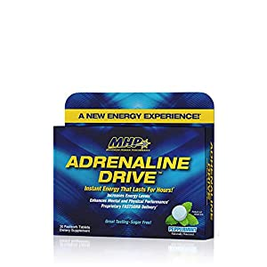 Mhp Adrenaline Drive Instant Energizing Mints, Enhanced Mental Focus, Sugar Free, W/150mg Caffeine, Peppermint, 30 Tablets