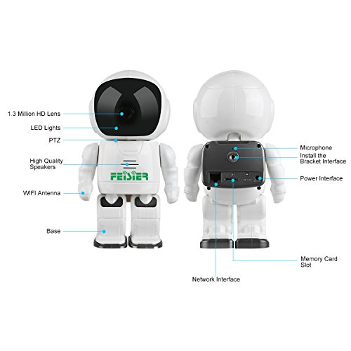 HD Wireless Robot IP Camera,FEISIER 960P Security Camera 1.3MP CMOS Baby Monitor Pan Tilt Remote Home Security P2P IR Night Vision for Mobile Android/iOS and Laptop (White) by FEISIER (Image #4)