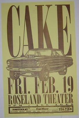 Cake John McCrea Rare Original Roseland Portland Concert Tour Gig Flyer Poster from ConcertPosterArt