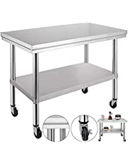 Mophorn NSF Stainless Steel Work Table with Wheels 36x24x31.5 inch Prep Table with casters Heavy Duty Work Table for Commercial Kitchen Restaurant Business Garage 661 lb Capacity