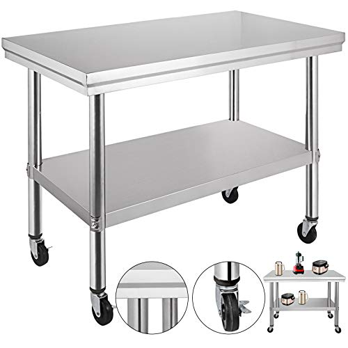 "VEVOR NSF Stainless Steel Work Table with Wheels 36x24 Prep Table with casters Heavy Duty Work Table for Commercial Kitchen Restaurant Business Garage (36""x24"") from VEVOR"