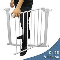 Monsieur Bébé Barrière de sécurité extensible - 9 tailles de 76 à 135cm - Norme NF EN1930