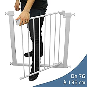 Monsieur Bébé ® Barrière de sécurité extensible - 9 tailles de 76 à 135cm - Norme NF EN1930