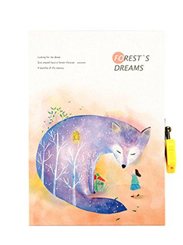 C&L CL Secret Diary Lock 7.5 Journal Notebook with 128 Double Sided Colorful Pages for Kids (fox)