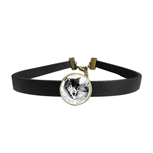 (Womens Gothic Leather Choker Collar Wolf Couple Wolf Jewelry Loyalty Wolves Punk Necklace with Glass Pendant)