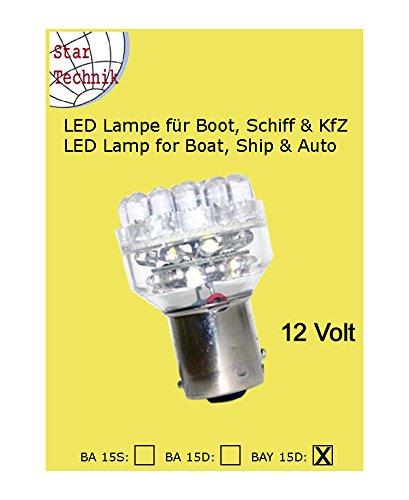 24V LED - Lampe für Positionsleuchten mit 32 LED Fassung: BAY-15D - für 24 Volt Anlagen. Ideale Energiespar Lampe für Boot, Schiff Marine Yacht Beleuchtung BAY 15 D Startechnik LED-32-BAY-24V