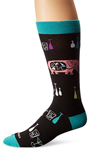 K. Bell Socks Men's Shag Artist Series Crew, Boozy Elephant Black, 10-13/Shoe Size:9-11 ()