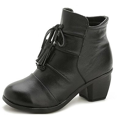 Casual CN37 Booties 5 For Boots Boots Chunky UK4 5 7 US6 Black Boots Heel Women'S Leather Fashion Shoes Nappa 5 Red EU37 Winter Ankle RTRY Fall x6wZ4PSnq
