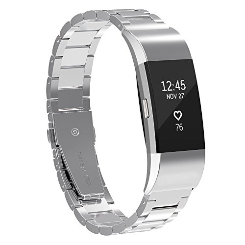 For Fitbit Charge 2 Bands, SnowCinda Accessory Metal Watch Bands for Fitbit Charge 2