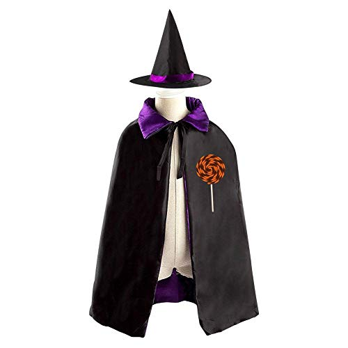 Tnilsk Kids Funny Spiral Chocolate Lollipop Halloween Cloak with Hat Reversible Witch Christmas Party Robe Cosplay Costume