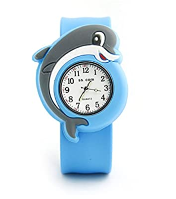 Vavna Lovely Top Quality Boys Girls Fashion Cartoon Animal Silicone Slap Snap On Wrist Watch -Dolphins from Vavna