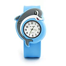 Vavna Lovely Top Quality Boys Girls Fashion Cartoon Animal Silicone Slap Snap On Wrist Watch -Dolphins