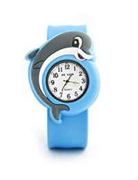 Vavna Lovely Top Quality Boys Girls Fashion Cartoon Animal Silicone Slap Snap On Wrist Watch -Dolphins
