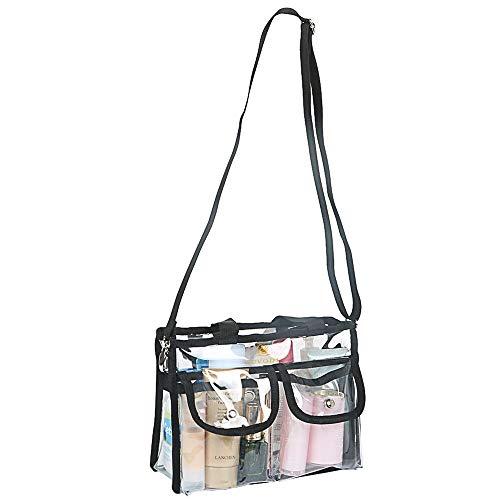 - LUVODI Clear Makeup Bag Transparent PVC Cosmetics Bag Travel Toiletry Tote Gym Bag Storage Organizer with Removable Adjustable Shoulder Strap 2 External Magnet Snap Pockets for Women Pro MUA