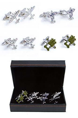 MRCUFF Airplanes Planes Jet Pilot Bombers 4 Pairs Cufflinks in a Presentation Gift Box & Polishing Cloth