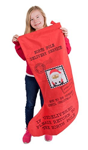 "Oversized Christmas Stocking Mailed from Santa Claus by Clever Creations | Red and Black with Postage Stamp Print | Soft Plush Felted Cloth | Festive Holiday Décor | Measures: 37"" x 23.5"" Wide At Toe"