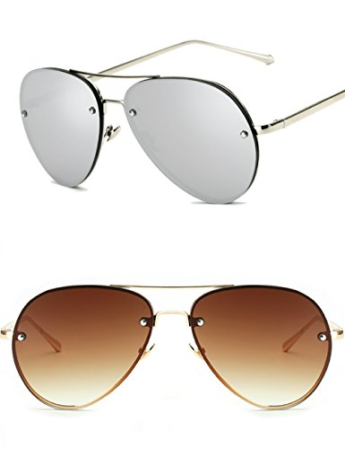 Oversized Aviator Sunglasses Vintage Retro Gold Metal Frame Colorful Lenses 62mm (Brown+Silver, ()
