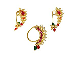 Vail Creations Small Size Traditional Maharashtrian Nose ring without piercing Pearl Gold Plated Nath Clip On Nose Ring For Women