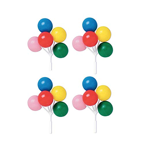 Oasis Supply - Balloon Cluster for Cupcake and Cake, (5-Inch), (Multicolored), (Set of 4) (Mini Soccer Cake Topper)