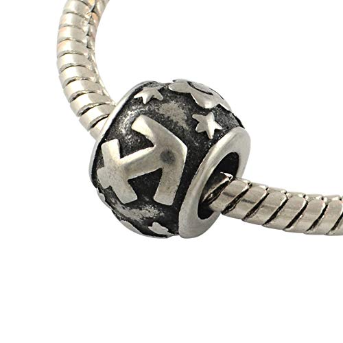 - NBEADS 10 pcs Constellation/Zodiac Signs Sagittarius Large Hole Beads Vintage Rondelle 316 Stainless Steel European Beads 11x8.5mm, Hole: 5mm