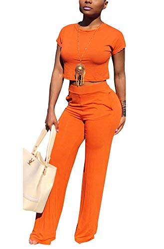 (Famnbro Women Two Piece Outfit Clubwear Jumpsuits Solid Color High Waist Long Pants Romper)
