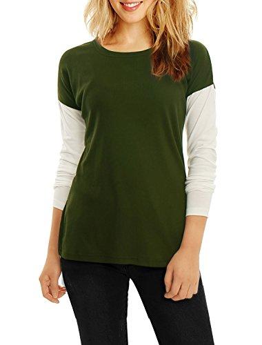 Allegra K Women Color Block Side-Slit Paneled Slim Fit Ribbed Top Green XS