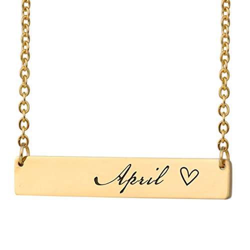 HUAN XUN April Name Roman Name Necklace Bar Initial Necklace Personal Jewelry Birthday Valentine Gift