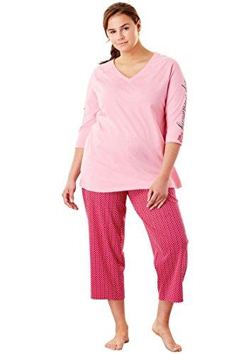 (Dreams & Co. Women's Plus Size Print Capri Pj Set - Pink Burst Dot, 22/24)