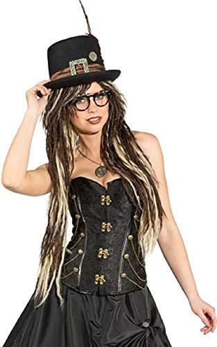 Fancy Me da Donna Deluxe Pizzo Similpelle Nero Marronee oro argentoo Steampunk Vittoriano Wild West Inventore Cosplay qualità Costume Vestito Corsetto - Nero Dorato, UK 12 (EU 40)