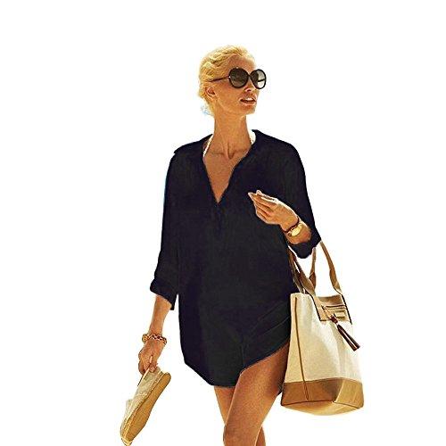 (Women's Cotton Beachwear Bikini Swimwear Beach Club V-neck Sexy Perspective Cover Up Skirt Bathing suit, Black-shirt, One Size)