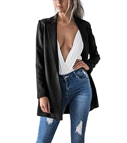 Sartoriale Solido Sottile Aperta Giacca Top Outwear Sinuosa donne Nere Fronte Howme xnY6FqwY