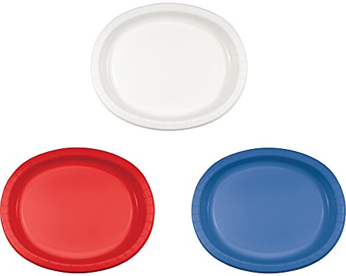 Oval Plate Platter - Creative Converting 20 Count Oval Paper Platters Bundle of 20 Red, 20 White and 20 Blue 60 Plates