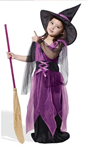 HalloweenCostumeParty witch costume purple for toddler & kids girls (XS(5T)