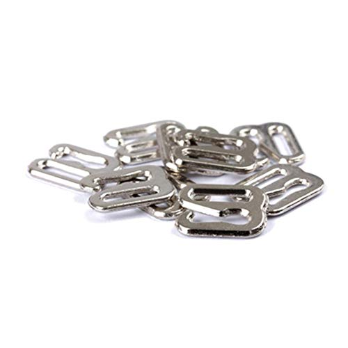 20pcs 6mm~25mm Metal/Plastic Bra Strap Adjustment Buckles Underwear Sliders Rings Clips for Lingerie Adjustment DIY Accessories (12mm,Metal Silver 1)