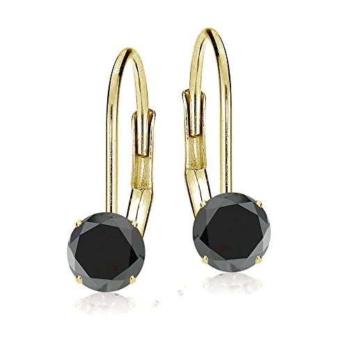 Bria Lou 14k Yellow Gold Ebony Sapphire 6mm Round Gemstone Leverback Drop Earrings 10k Leverback Earrings