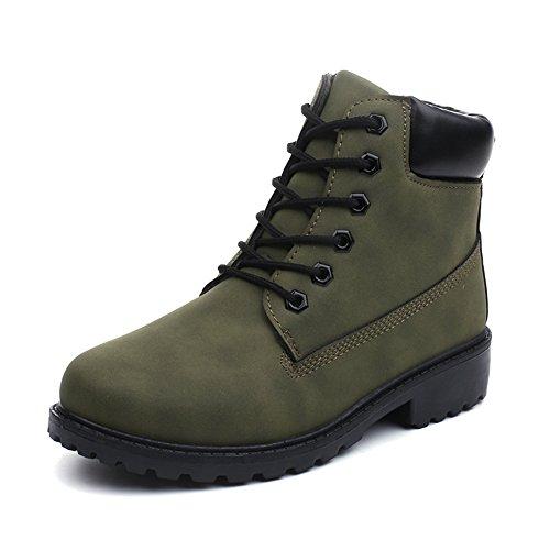 Retro Calentar Nieve Invierno Otoño Verde Botines Mujer Trabajo De Bozevon Caliente Botas Zapatos qYzf8wxI