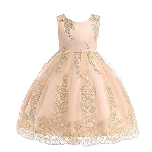 (JIANLANPTT Cute Flower Kids Appliques Embroidered Lace Floral Princess Dresses Children Girl Wedding Dress 5-6Years Champagne 6)