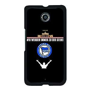 Hertha Berliner Sport Club Berlin Phone Case,Black Creative Bundesliga Hertha Berliner Team Logo Custom Hard Case for Google Nexus 6