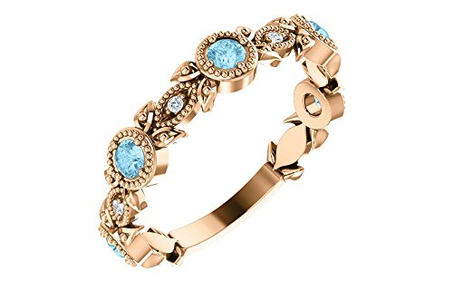 - FB Jewels 14K Rose Gold Aquamarine & .03 CTW Diamond Leaf Ring