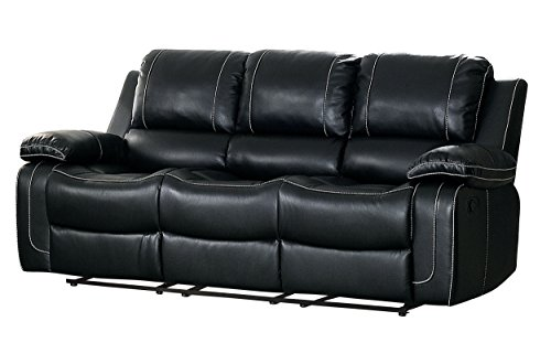 ouble Reclining Sofa Air Hyde Breathable Faux Leather with Drop Down Center Cup Holders, Black ()