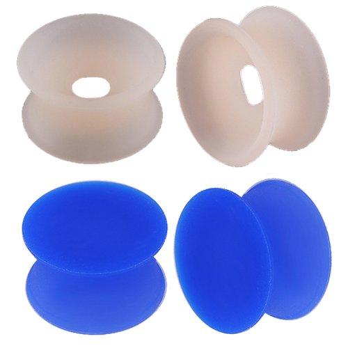 oreille elargisseur lobe flesh plug tunnel écarteur double flare 5/8 16mm bijouterie piercing peau bleu foncé silicone 4 pcs FGVL