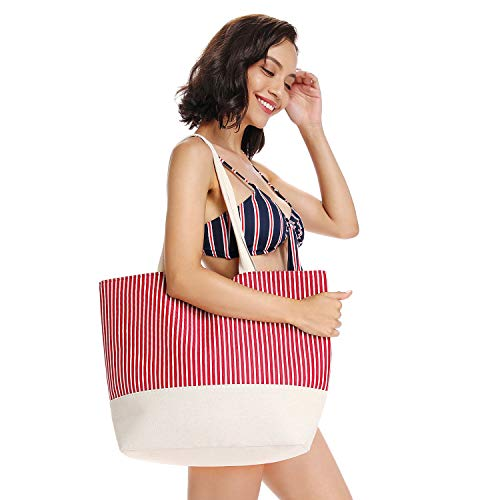 Red Bag Beach - CiKi Home Beach Bags and Totes - Canvas Shoulder Bag with Soft Cotton Handles for Travel